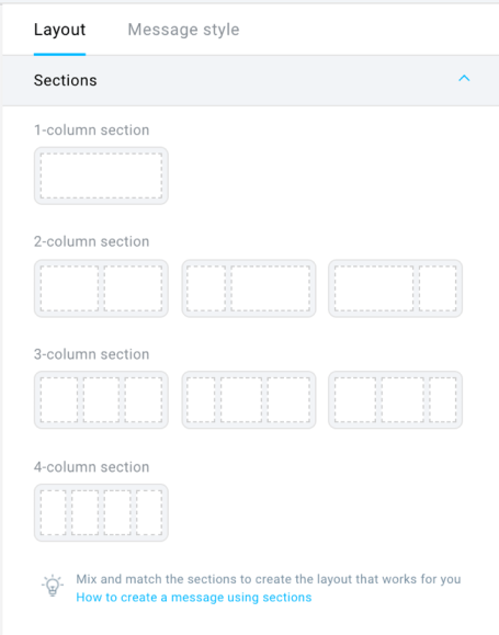 sections in the new email editor