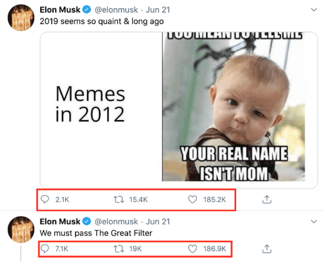 Elon Musk tweete son engagement.