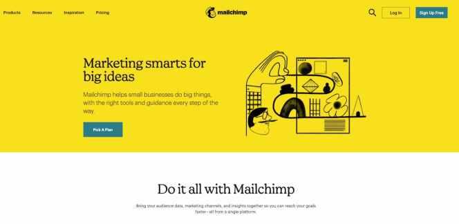 Mailchimp homepage.