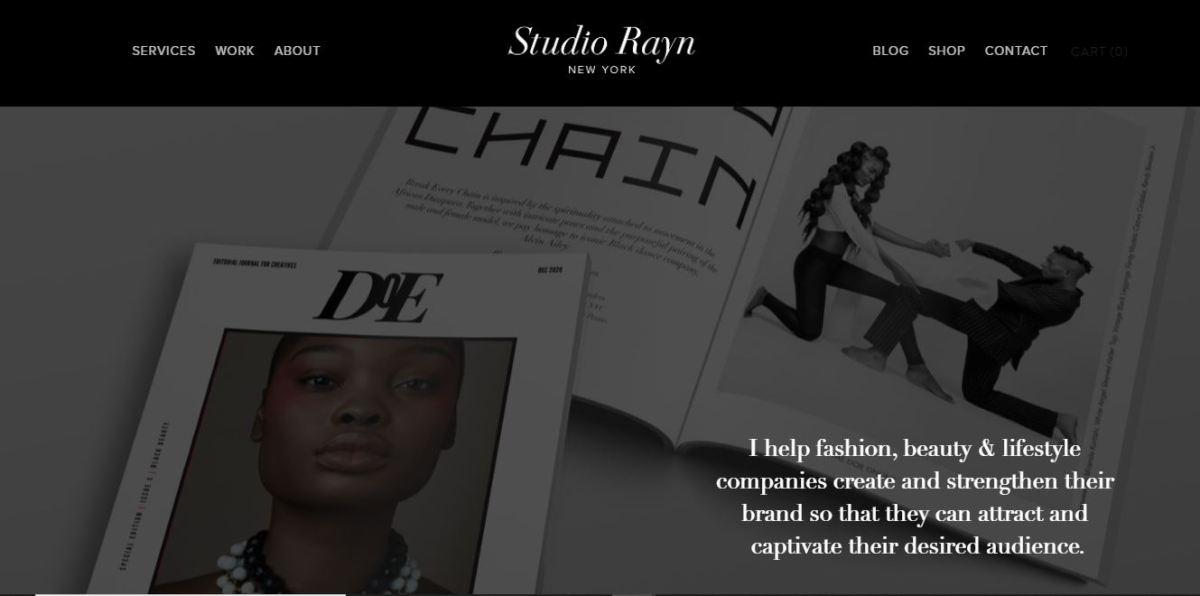 Website with a designer's portfolio.