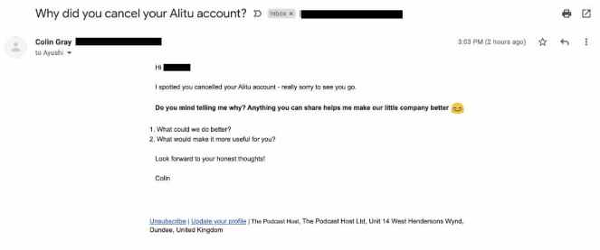 Automated email sent after the user canceled his account.