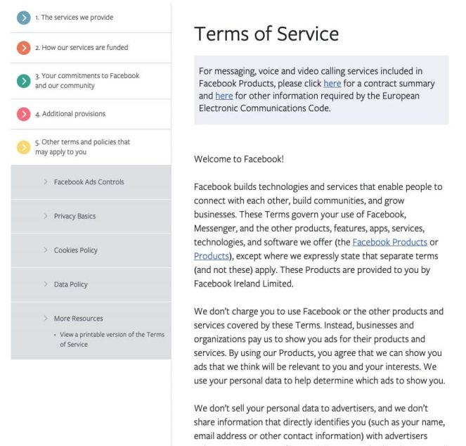 facebook terms of service Twin Front