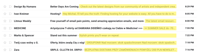 Image showing emails with different preheader length visible in the mailbox preview.