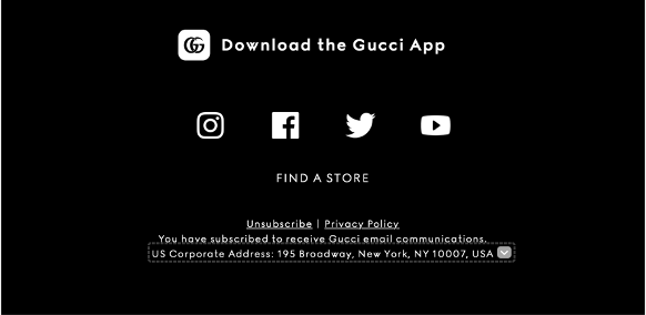 Email footer promoting the brand's app.