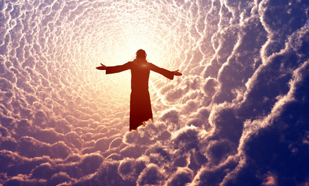 jesus: Jesus prays in the clouds.