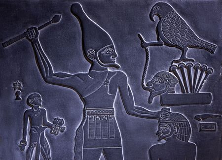 hieroglyphics: Egyptian hieroglyphics carved out of black stone