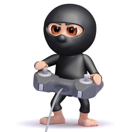 NINJA GAMER: 3d render of a ninja playing videogames