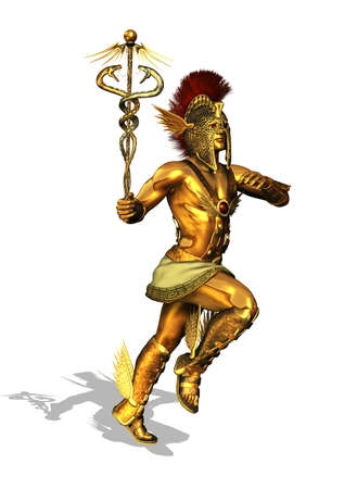 3D render depicting the Greek God Mercury, messenger of the gods, the god of trade, merchants and travel Stock Photo - 16793380