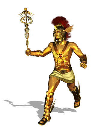 3D render depicting the Greek God Mercury, messenger of the gods, the god of trade, merchants and travel Stock Photo - 17170371