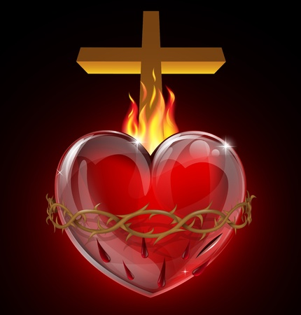 christian cross: Illustration of the Most Sacred Heart of Jesus. A bleeding heart with flames, pierced by a lance wound with crown of thorns and cross. Illustration