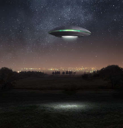 ufo spaceship: Alien spacecraft is hovering abpve the meadow