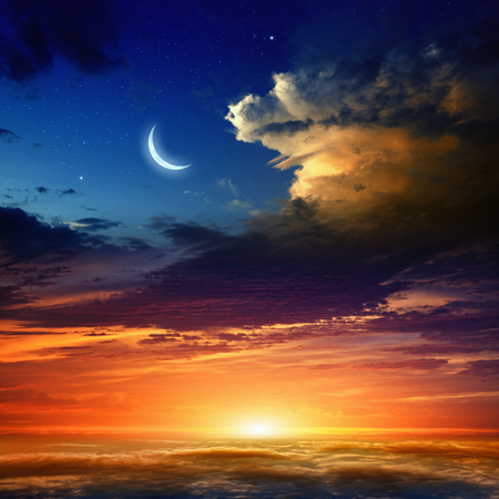 Beautiful background - new moon in dark blue sky with stars, glowing sunset clouds. Elements of this image furnished by NASA nasa.gov Stock Photo - 40168629
