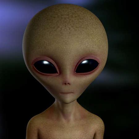 ufo alien: 3d cartoon alien