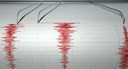 earthquake: A closeup of a seismograph machine needle drawing a red line on graph paper depicting seismic and eartquake activity on an isolated white background Stock Photo