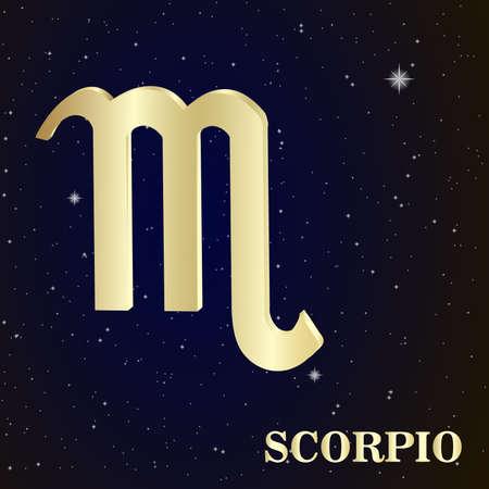 Scorpio zodiac sign in star's sky, vector Illustration. Contour icon. Stock Vector - 38629239