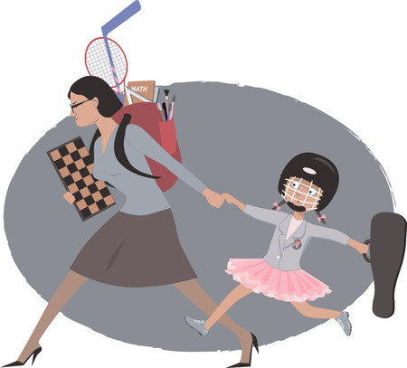 Overachieving woman dragging her daughter to multiple after school classes and practicalities, vector illustration Stock Vector - 30826877