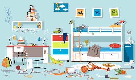 Interior Of Messy Kids Bedroom Eps 8 Vector Ilration No Transparencies