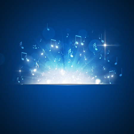 music: music notes explosion with lights and bokeh blue background