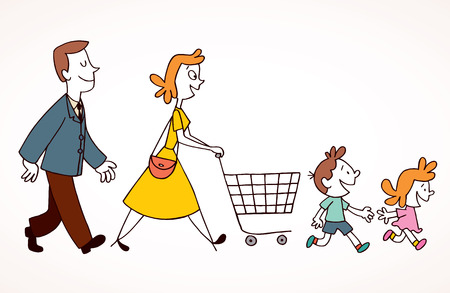 family shopping Stock Vector - 32556396