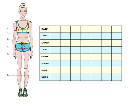 Measurement chart of the body parameters for sport and diet effect tracking blank weight loss also hip women cliparts stock vector royalty free rh rf
