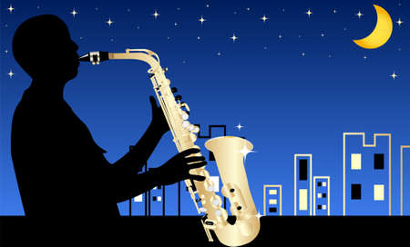 EPS 10 Vector illustration of jazz musician by night  Used opacity, transparency and blending mode Stock Vector - 14259210