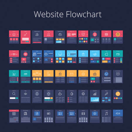 Flowchart cards for website structure planning pixel perfect layered vector illustration stock also rh rf