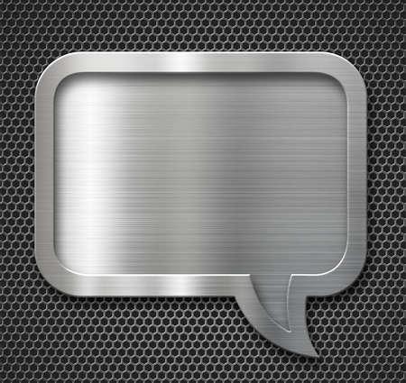 aluminum metal speech bubble plate over grid background Stock Photo - 47321214