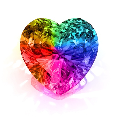 Rainbow diamond heart shape bleu isolé sur fond blanc - 3d render. Banque d'images - 8528885