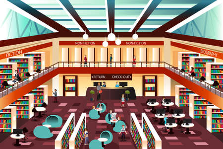A illustration of inside the modern library Stock Vector - 36056076