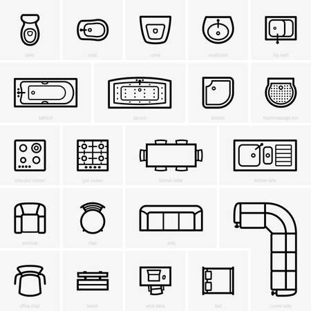 Top View Furniture Icons Royalty Free Cliparts Vectors And Stock Ilration Image 33772041