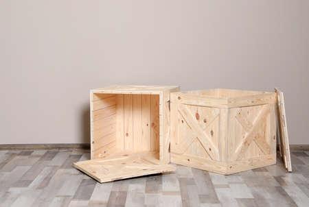 wooden crates on floor