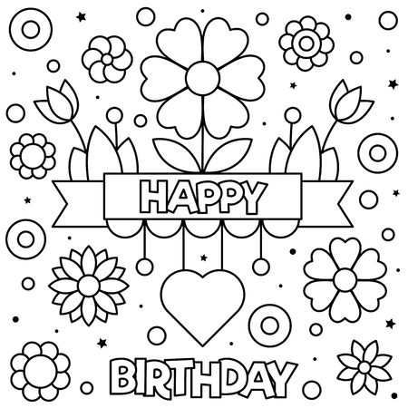 Happy Birthday Coloring Page Black And White Vector Illustration Royalty Free Cliparts Vectors And Stock Illustration Image 111631536