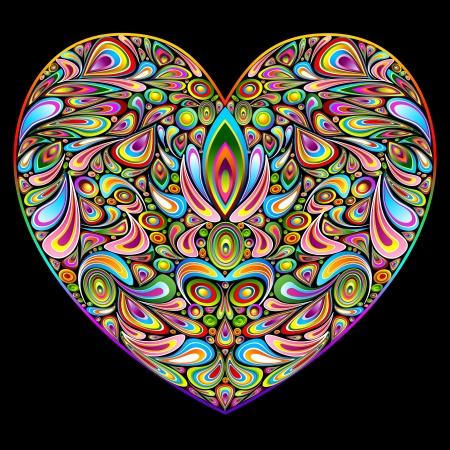 Love Heart Psychedelic Art Design Stock Vector - 16247431
