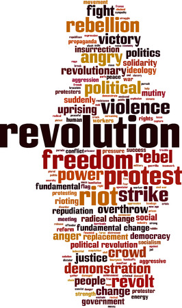 freedom protests: Revolution word cloud concept. Vector illustration