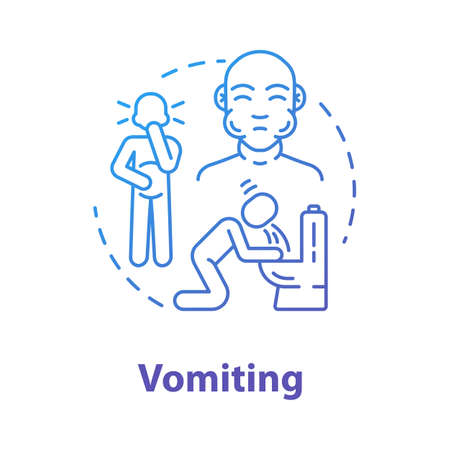 Vomiting Concept Icon. Person Unwell. Stomach Poisoning. Puking ...