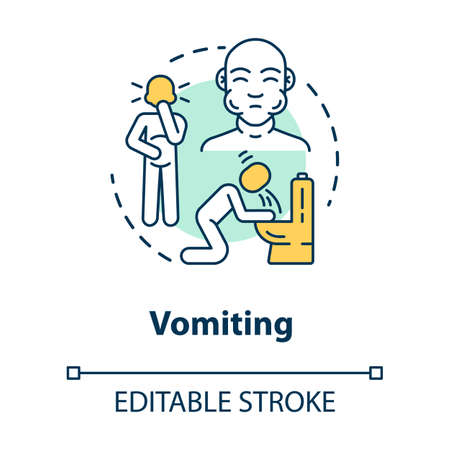 Vomiting Concept Icon. Stomach Poisoning. Puking From Hangover ...