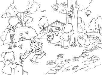 Drawing Of Children Playing In Garden Dunia Belajar