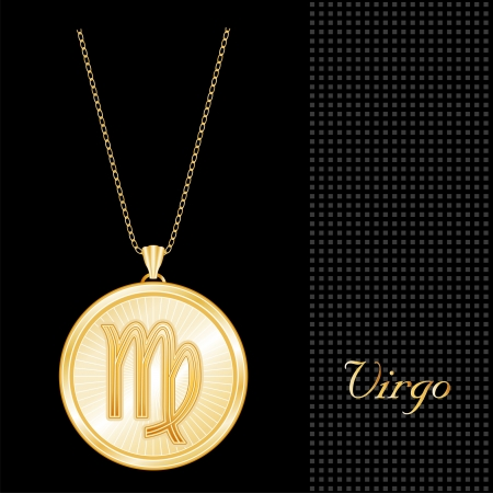 Virgo Pendant Gold Necklace and Chain, engraved astrology earth sign symbol, star burst design pattern, textured black background Stock Vector - 13986297