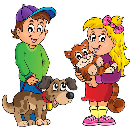 Children with pets theme   Stock Vector - 35432400