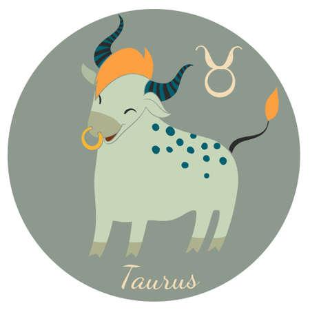 Cute Taurus zodiac sign of Horoscope. Vector Illustration. Stock Vector - 40101475
