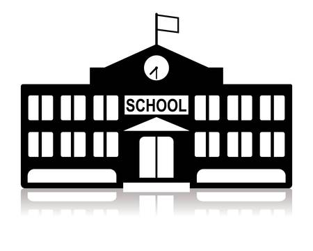 school: school building in black and white Illustration