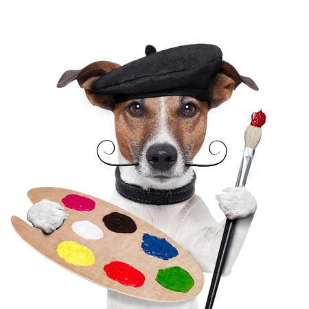 painter artist dog color palette Stock Photo - 15071729