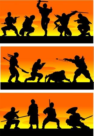 Ninja at sinrise Vector illustration Stock Vector - 13932278