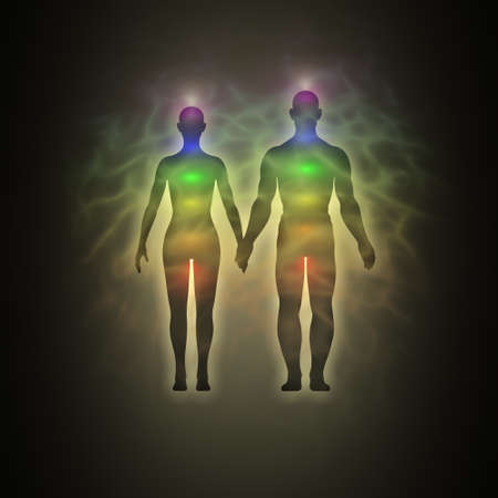Woman and man energy body, aura, chakras, energy, silhouette Stock Photo - 12295445