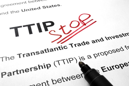 ttip: Words TTIP stop on a paper and marker.