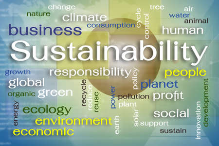 social responsibility concept: Sustainability word cloud on screen Stock Photo