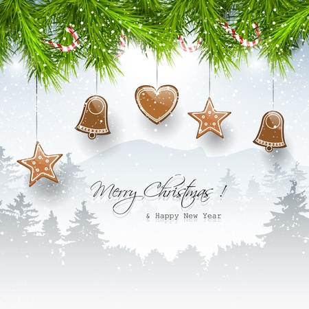 Christmas background with gingerbreads and place for text Stock Vector - 21910732