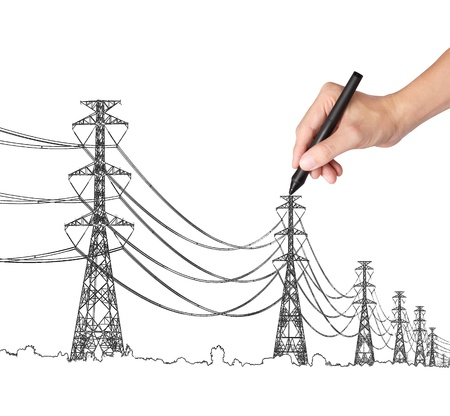 business hand drawing industrial electric pylon and wire Stock Photo - 15659237