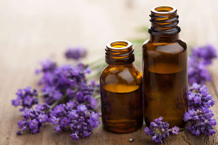 essential oil and lavender flowers  Stock Photo - 15163126