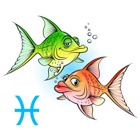 Zodiac signs. Two cartoon fish. Illustration on white Stock Vector - 14562069